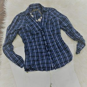 Guess Plaid Fitted Button Up Top